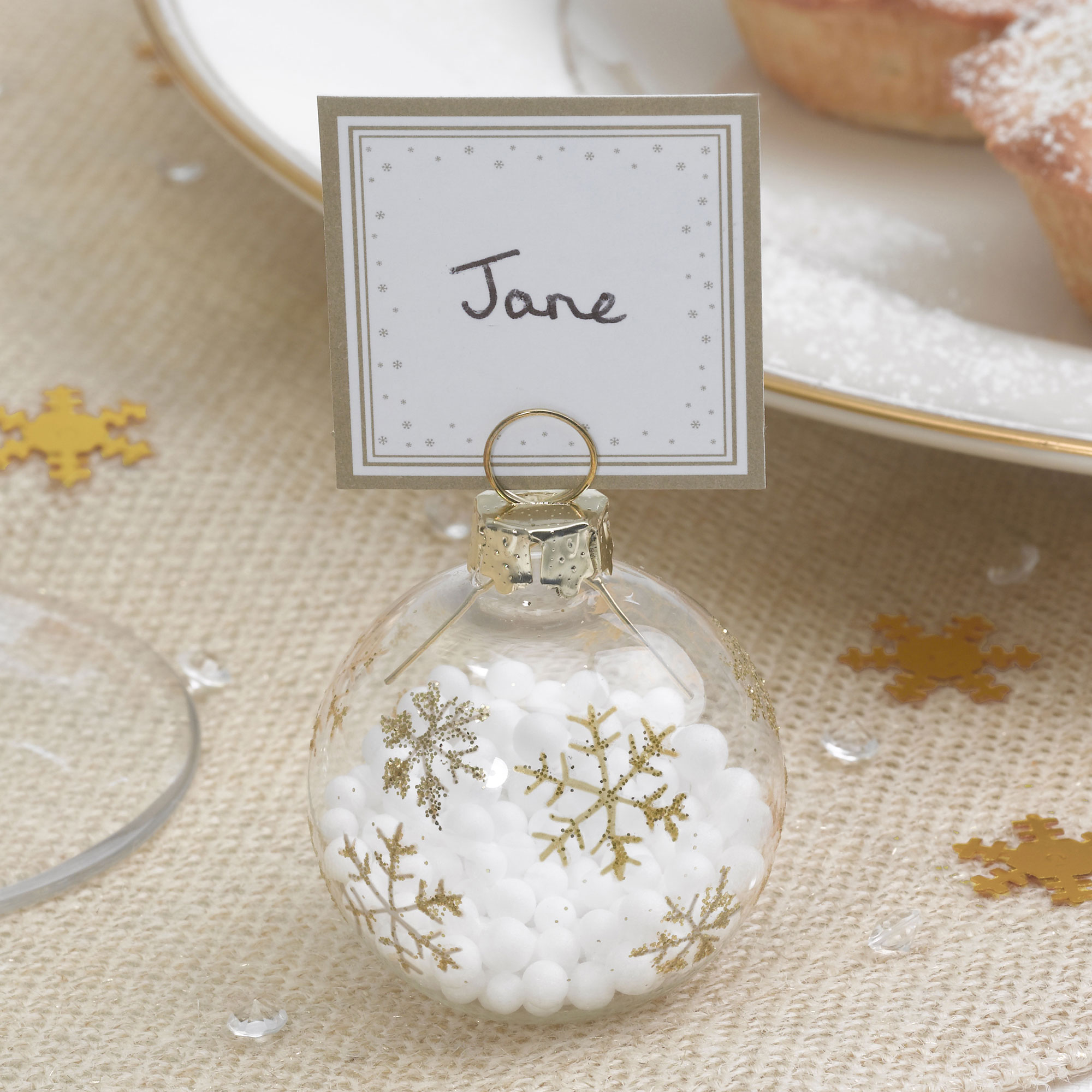 Christmas bauble place cards