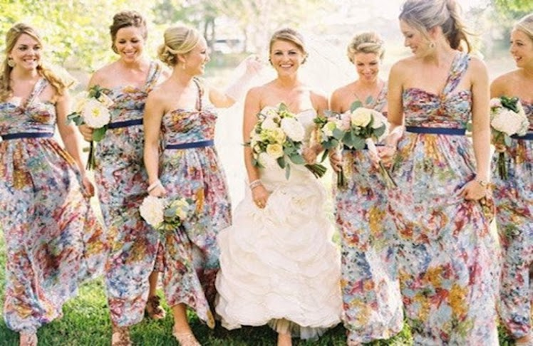 bridesmaids patterned maxi dresses