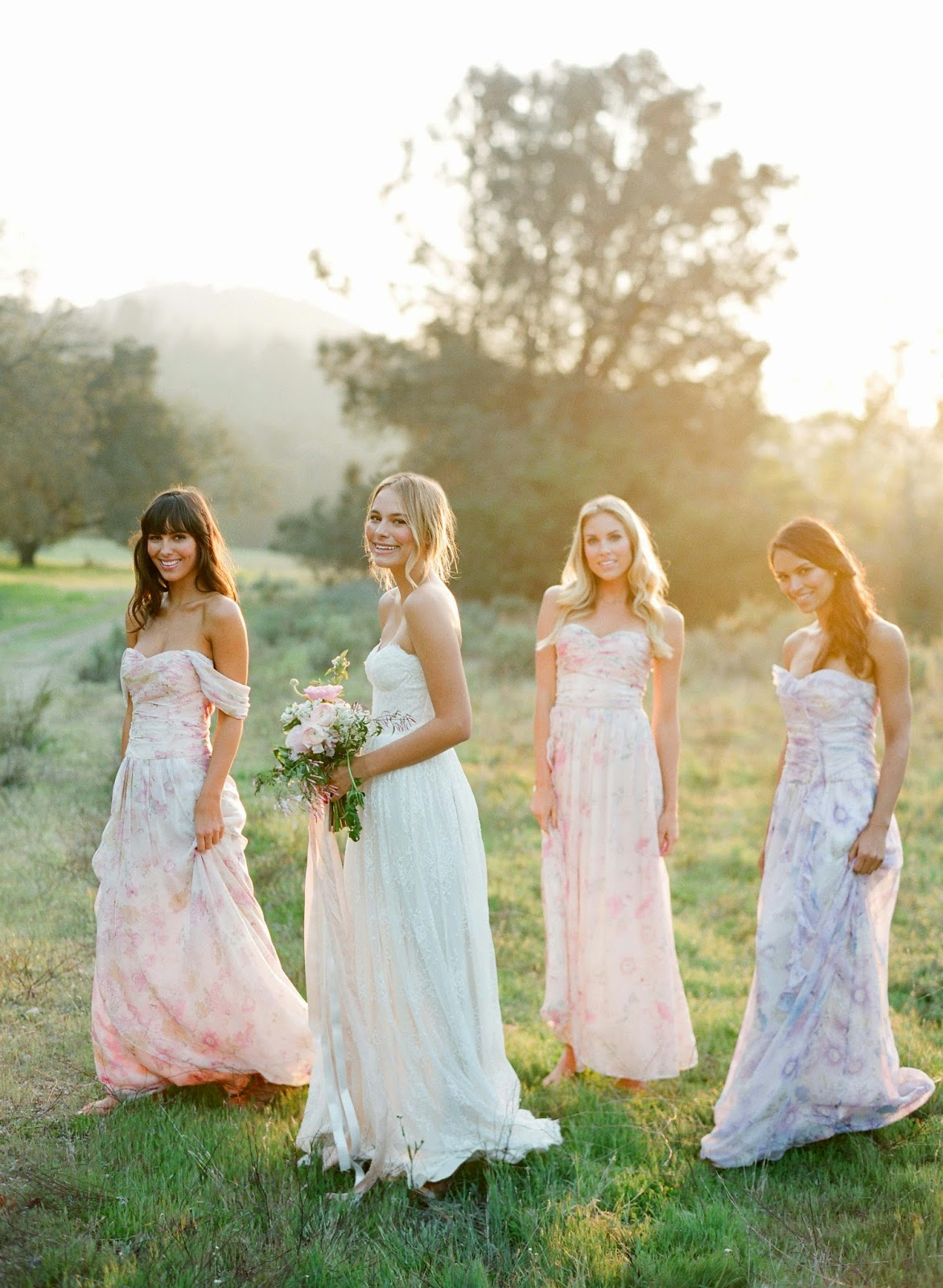 pastel patterned bridesmaids dresses