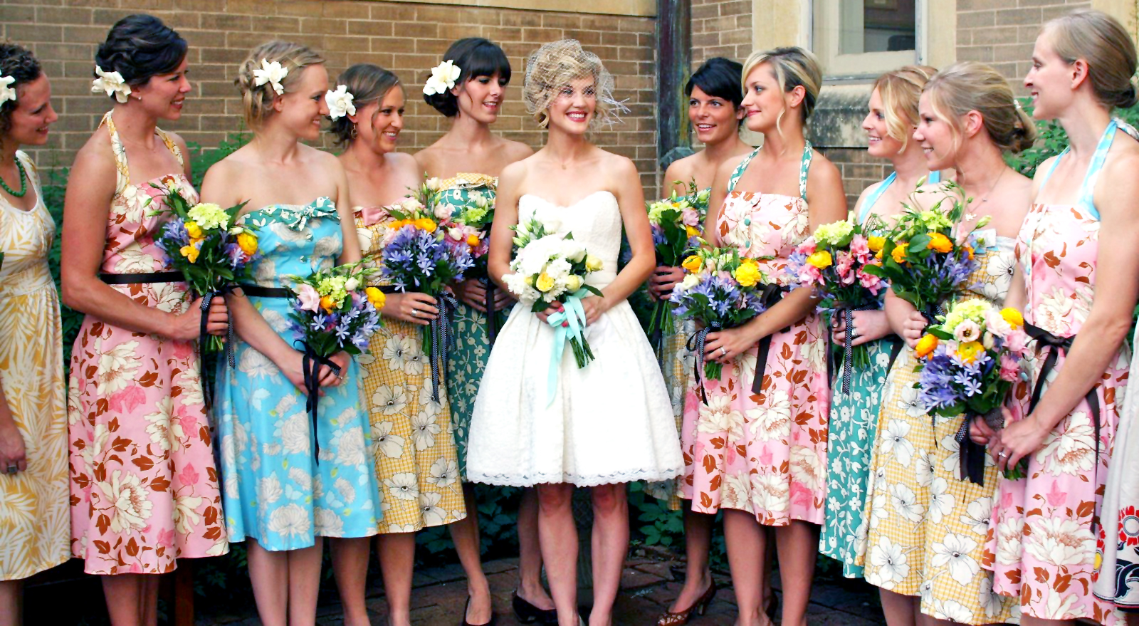 patterened vintage bridesmaid dresses