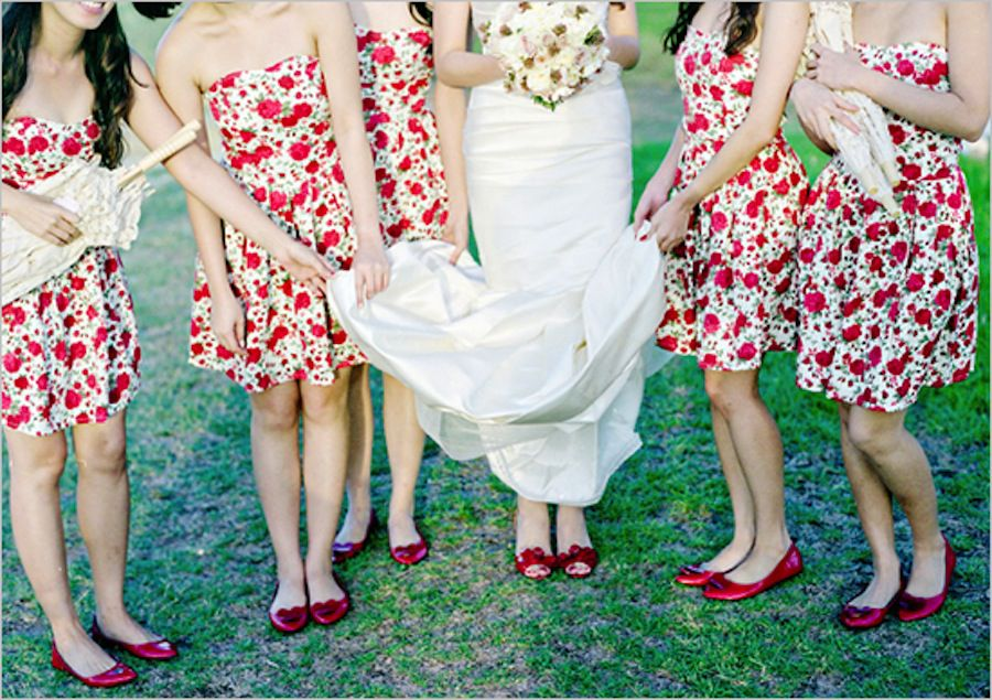 red patterened bridesmaids