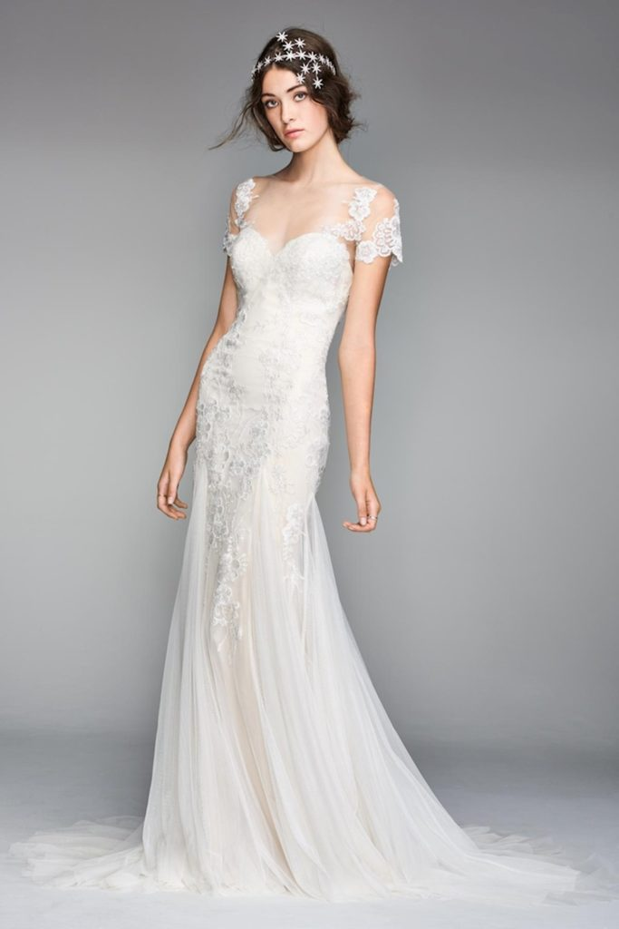 Hourglass bride in mermaid, lace and tulle, Willowby wedding dress with cap sleeves and star headpiece