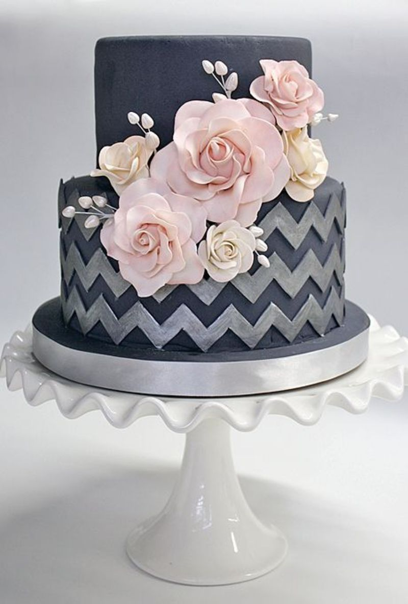 Pink and grey dark cake