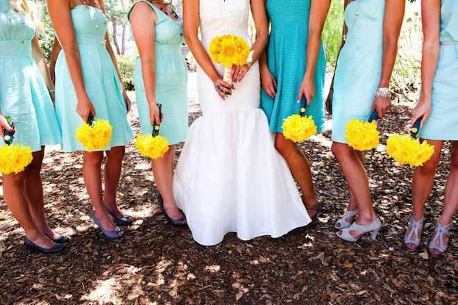 Turquoise/yellow bridesmaids