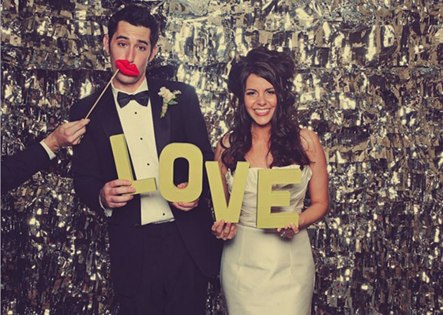 Photo booth bride and groom