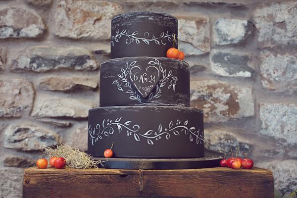 Dark chalkboard cake
