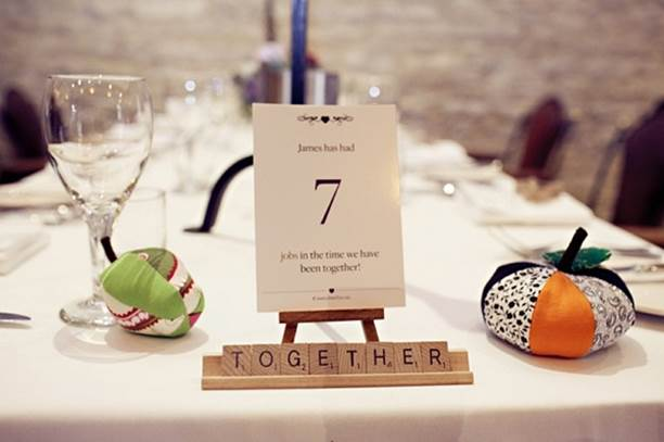 Romantic wedding table number personalised