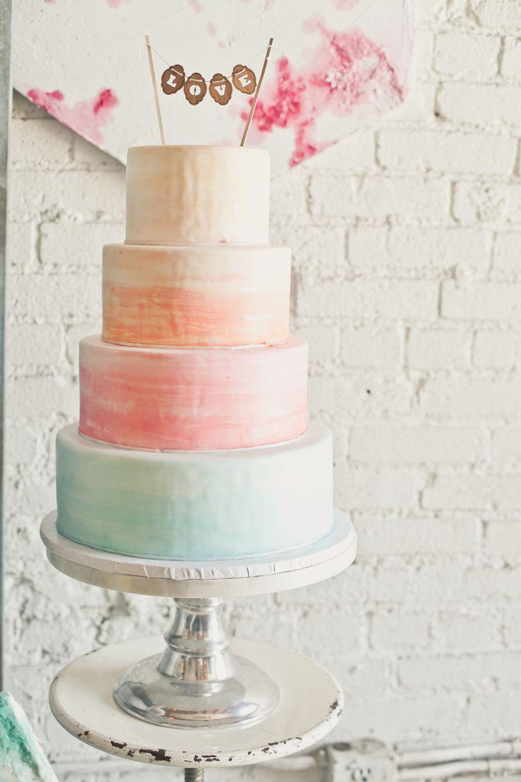 Watercolour pastel cake