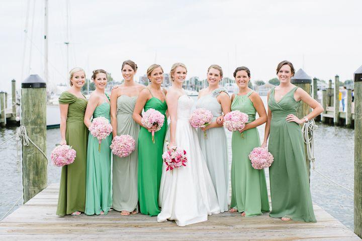 Green bridesmaids
