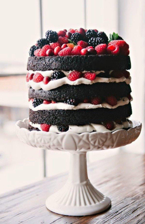 Naked dark chocolate cake