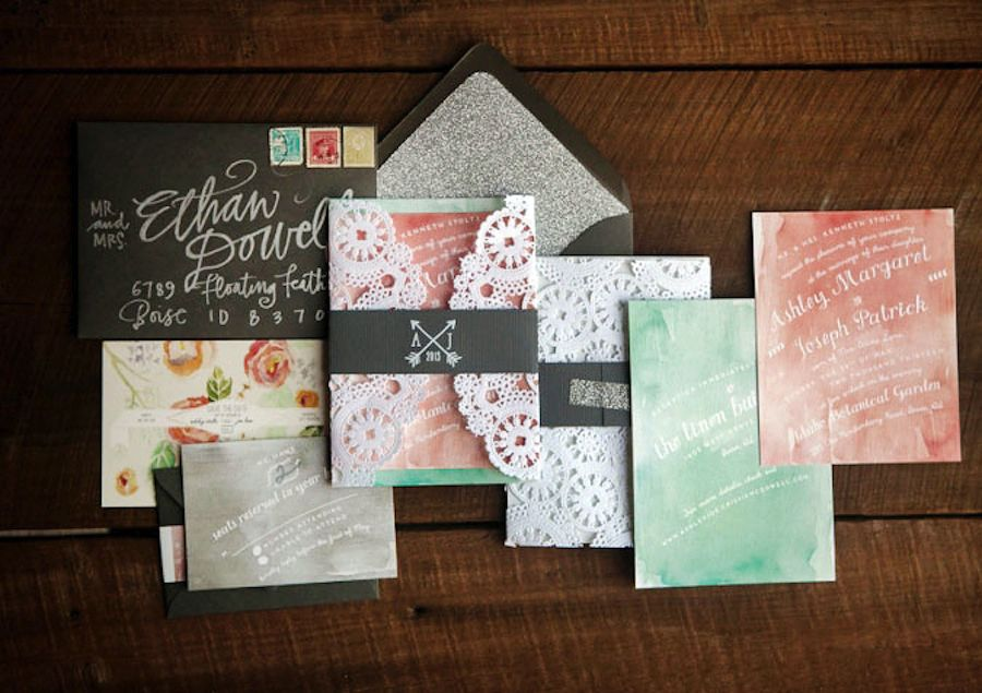 mint and coral stationery, postage