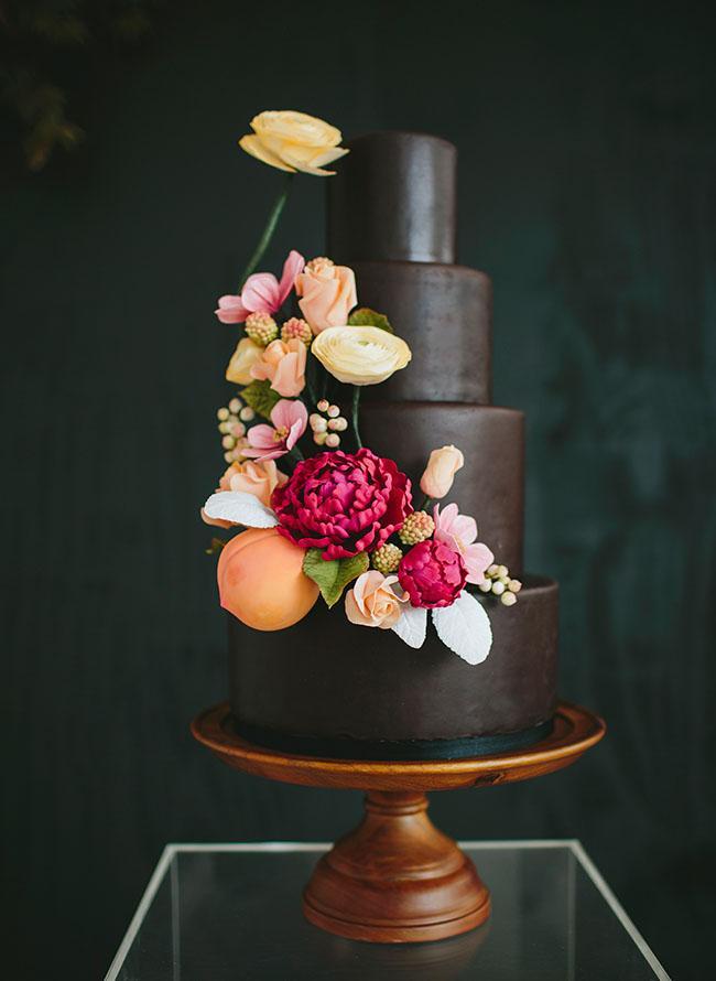 Floral dark cake