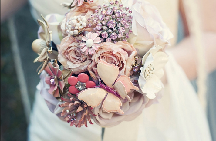 Pink brooch bouquets
