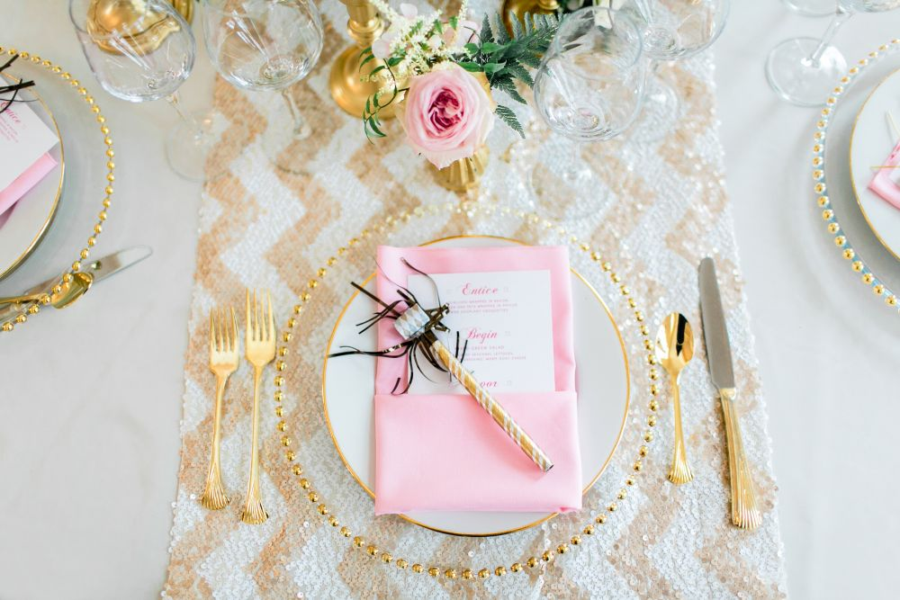 Pink & gold place setting - winter wedding menu