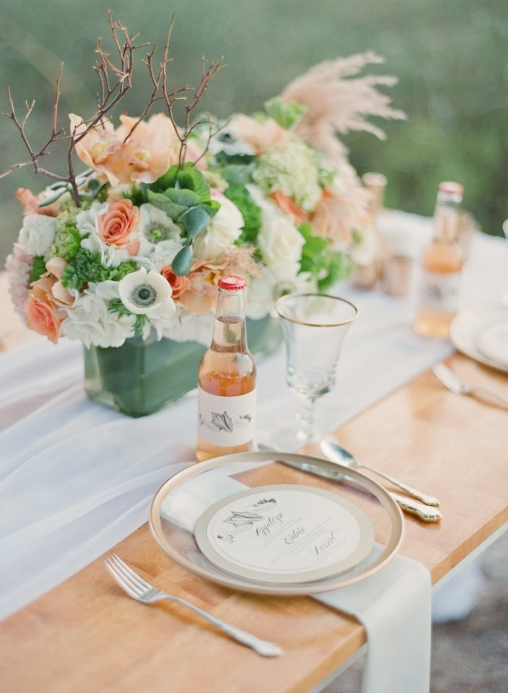 mint & coral place setting