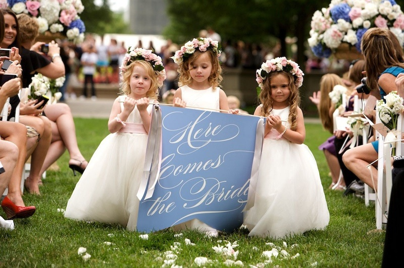 Here comes the bride flower girls