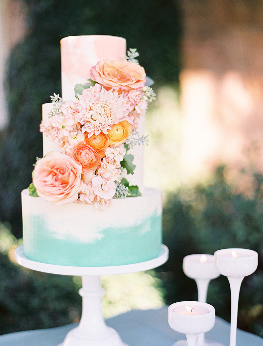 blue water colour cake