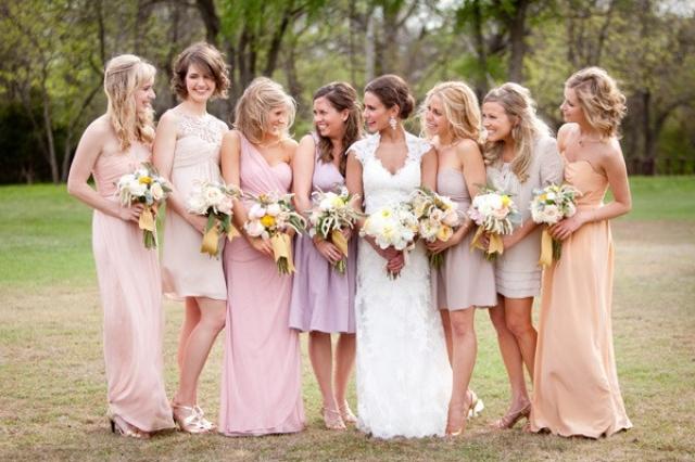 Pink/purple bridesmaids