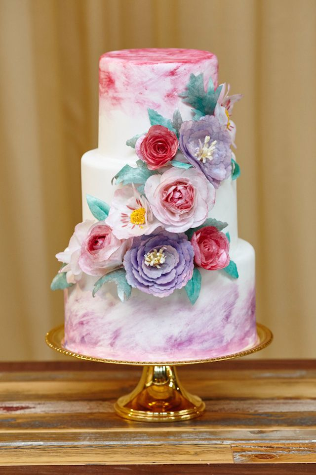 purple water colour cake