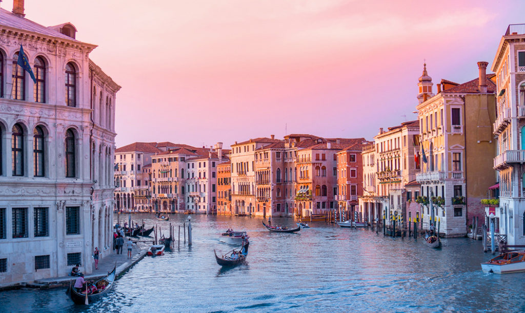 Pink sunset over the Venice canal