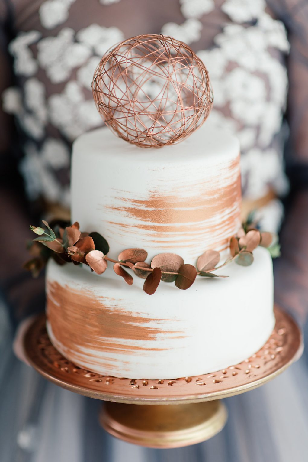 rose gold leaf cake