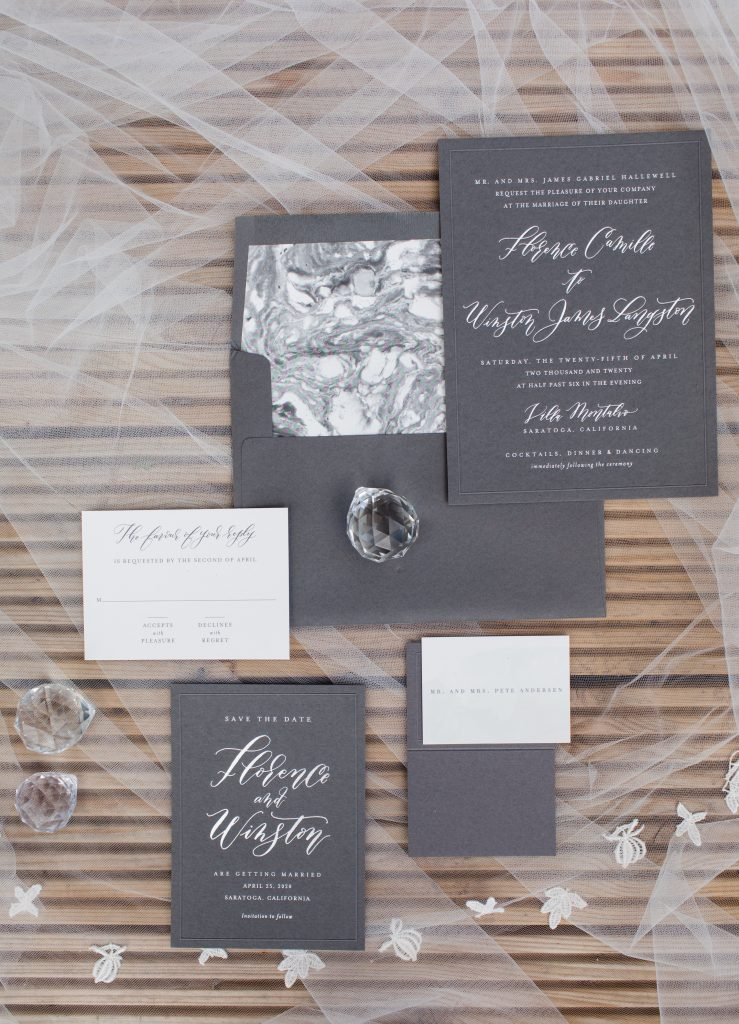 black and white wedding invitations with calligraphy style writing