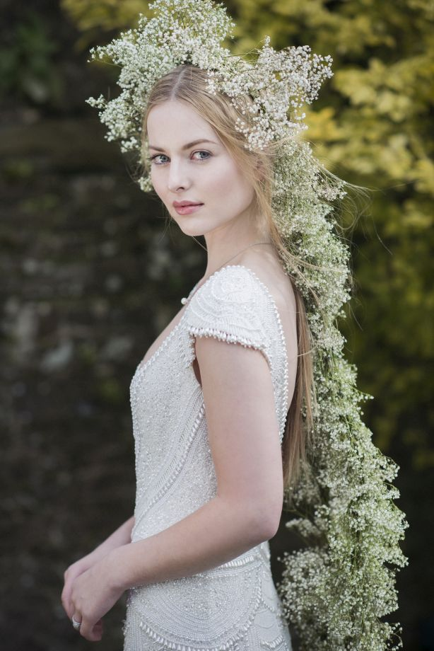 Bride with Gypsophila (Baby's Breath) crown on shoot in Tankardstown