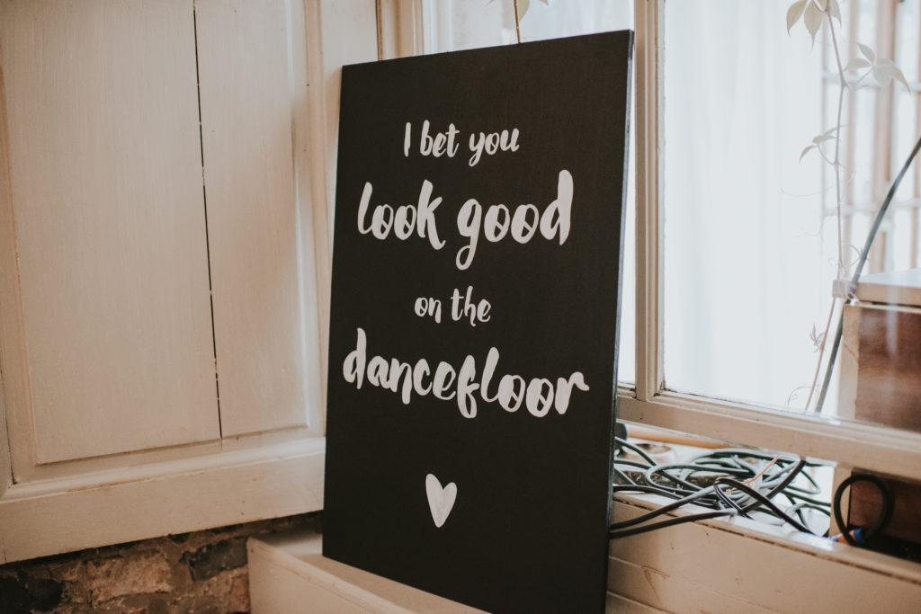 Signage at Orla & Gavin's wedding at Cloughjordan House
