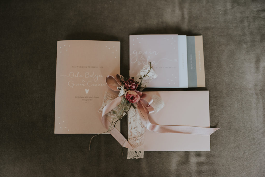 Invitations at Orla & Gavin's wedding at Cloughjordan House