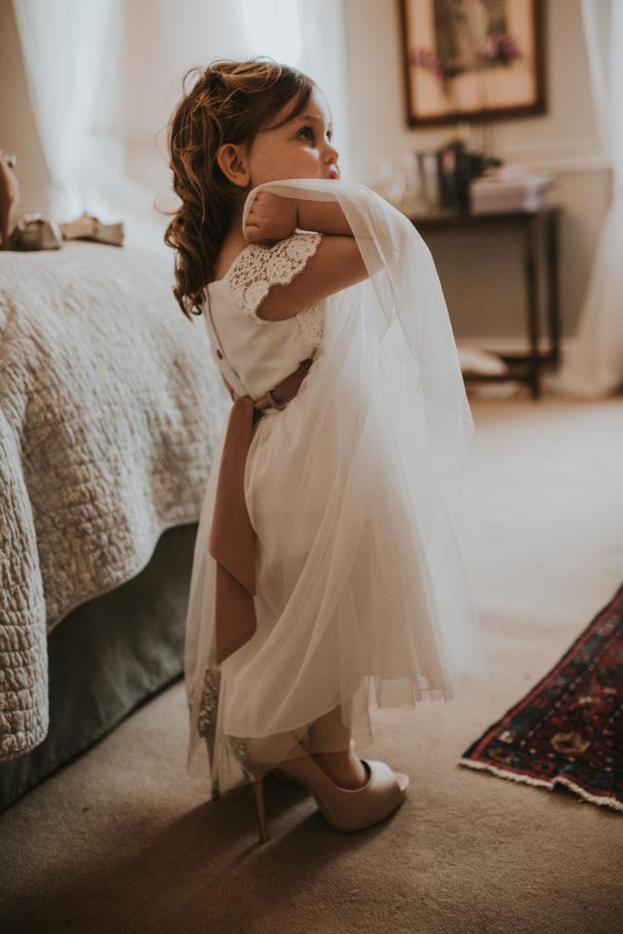Flower girl at Orla & Gavin's wedding at Cloughjordan House