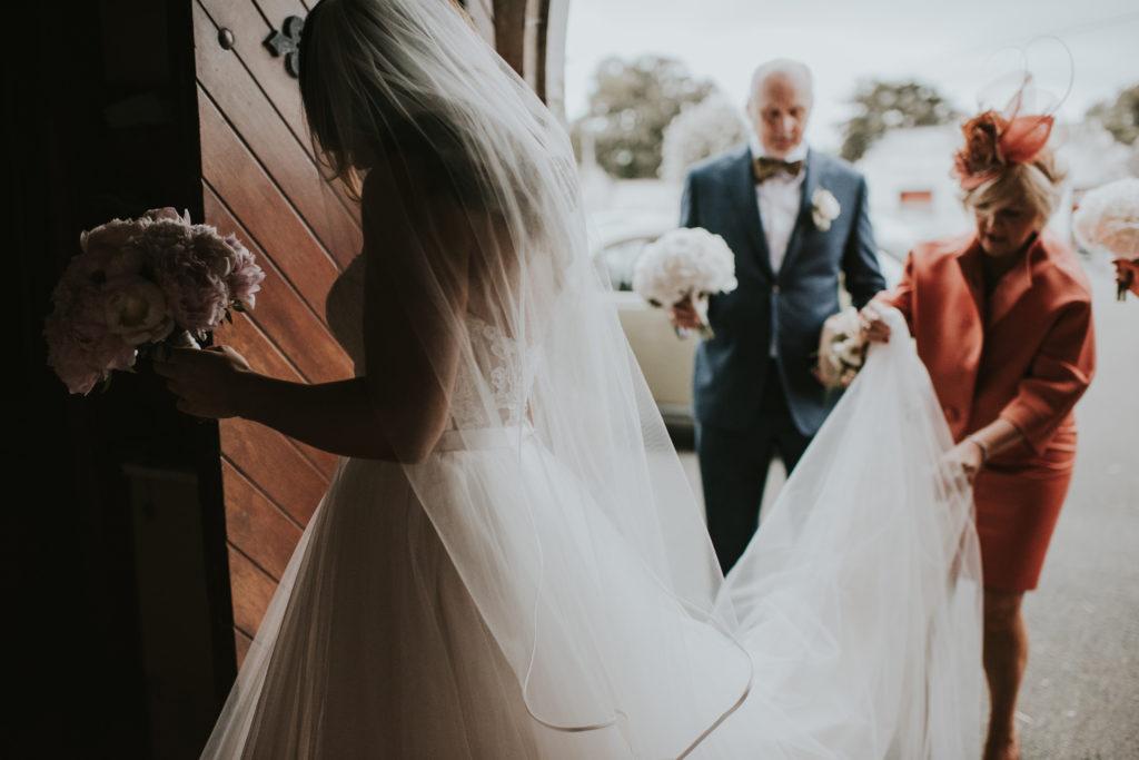 Orla entering the church. Wedding at Cloughjordan House