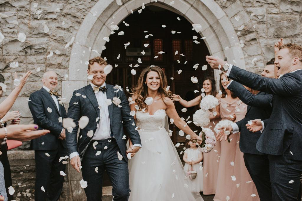 Leaving the Church. Orla & Gavin's wedding at Cloughjordan House
