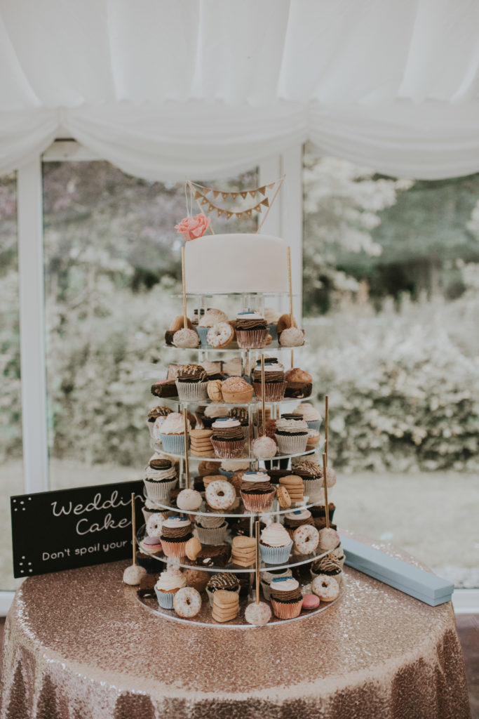 Dessert tower with cake at Orla & Gavin's wedding at Cloughjordan House