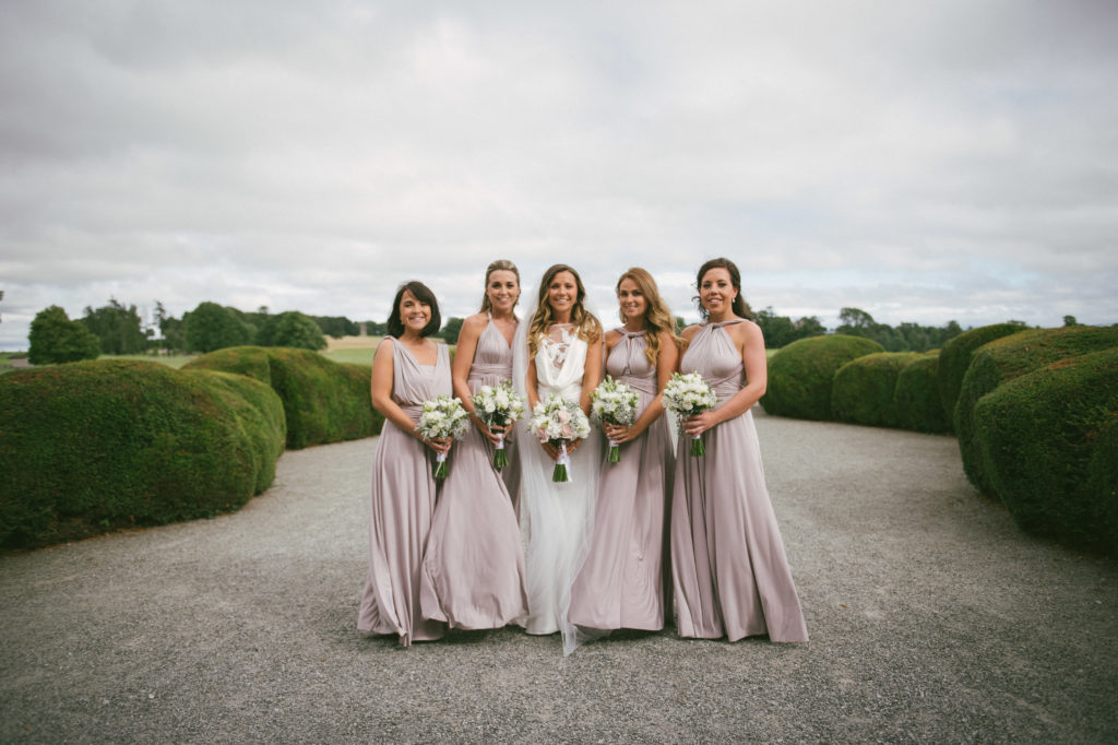 Ali and Ronan at Carton House. Bridesmaid and bride.