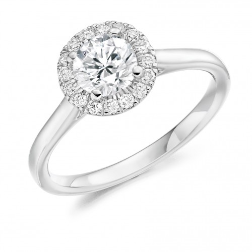 Weir & Sons Platinum and Halo Diamond Engagement Ring, €4,920.
