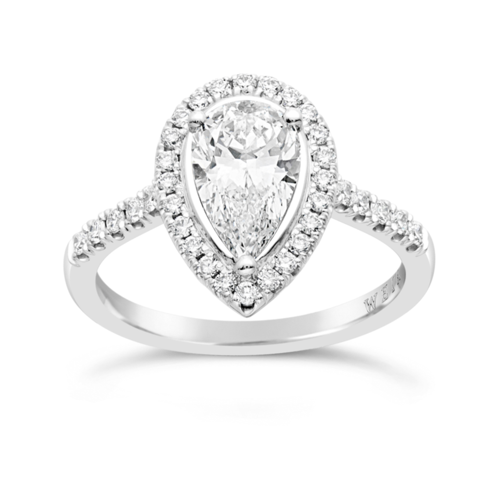 Weir & Sons 1.21ct Platinum and Pear Cut Engagement Ring, €13,580.