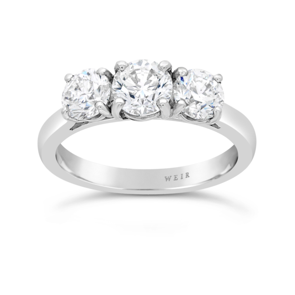 Weir & Sons Platinum Trilogy Engagement Ring, €13,140.