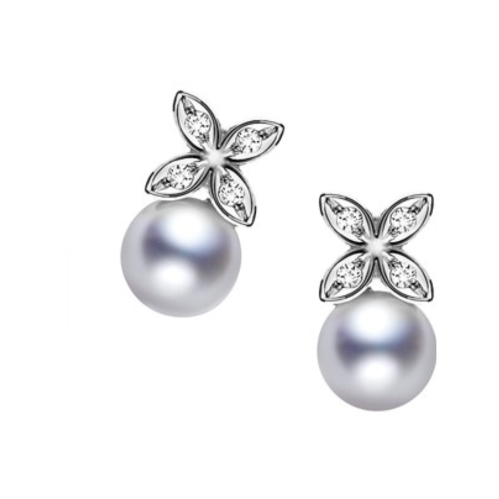 Mikimoto Akoya Pearl Clover Earrings