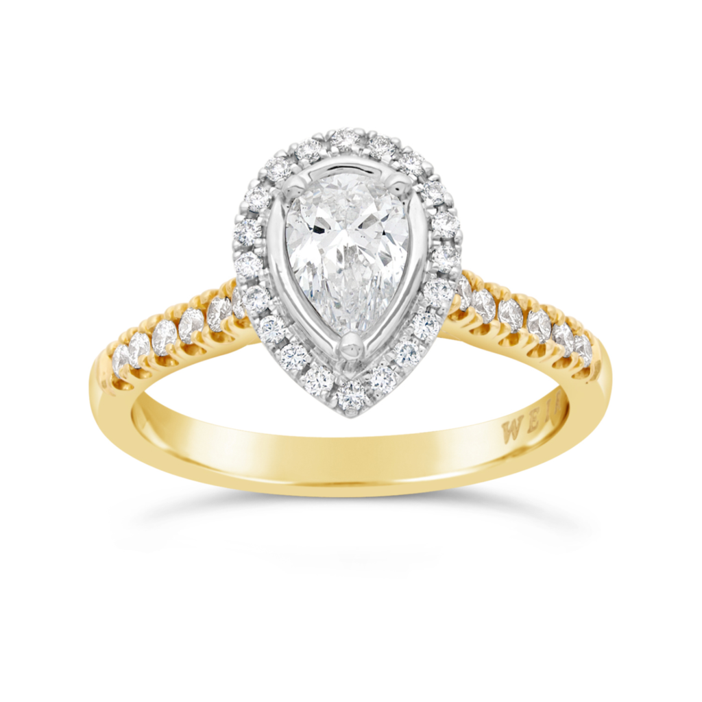 Weir & Sons 18K yellow Gold Pear Engagement Ring, €3,450.