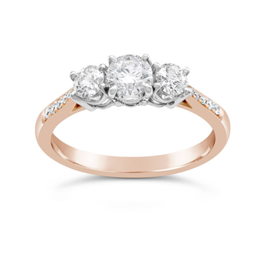 Weir & Sons 18K Rose Gold Trilogy Engagement Ring