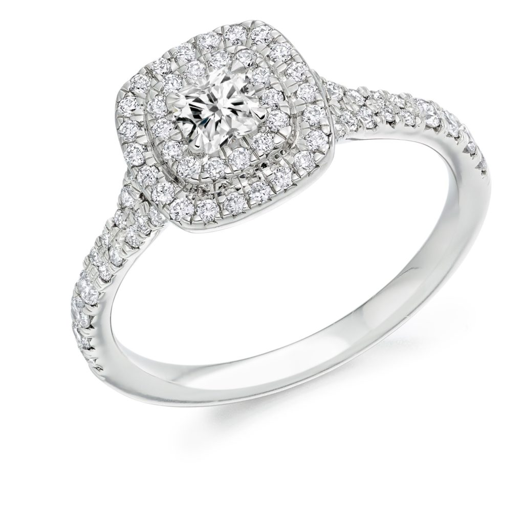 Weir & Sons Platinum Cluster Halo Engagement Ring, €2,690.