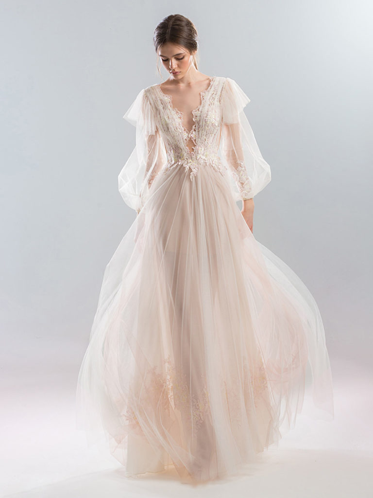 Papilio soft blush Deep v wedding dress with bishop sleeves and lace applique