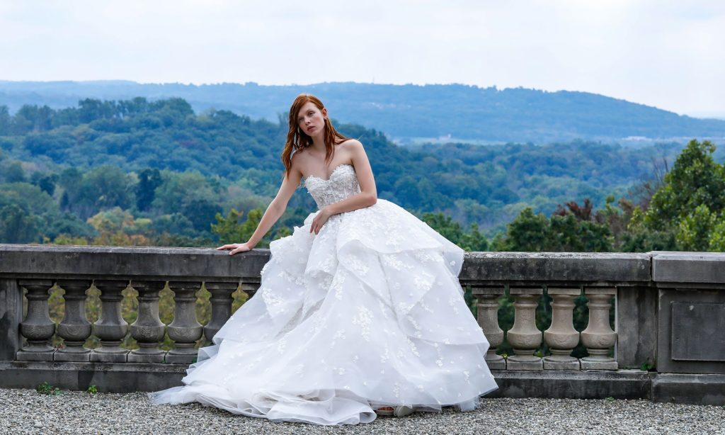 Tiered, white, floor length ball gown by Monique Lhuillier