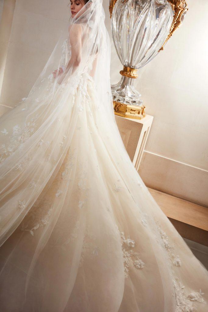 Floor length light blush tulle dress by Elie Saab