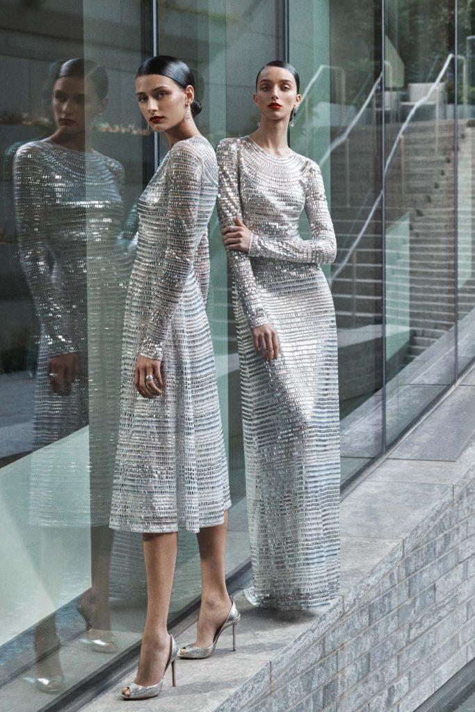 Silver beaded, Midi-length dress by Naeem Khan