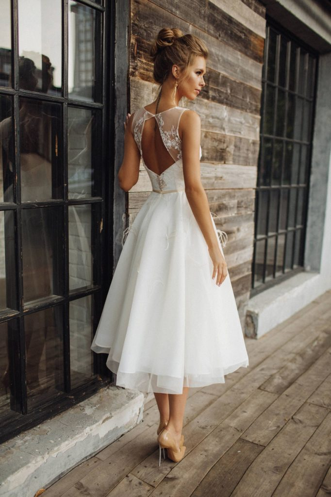 White Tea-length with keyhole back dress Alex Veil Bridal