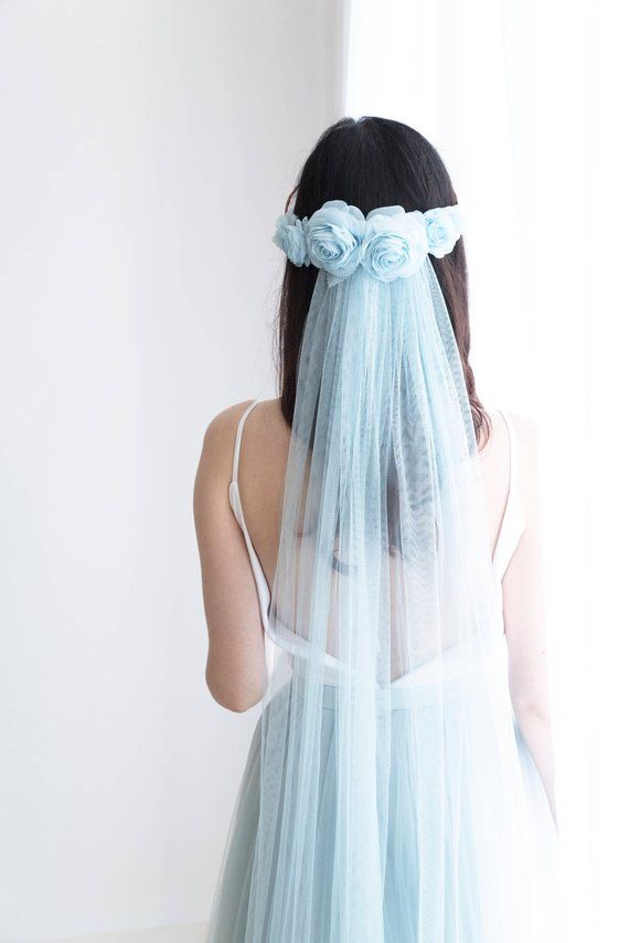 Light blue veil, light blue silk rose hairband, floraljewellery on Etsy