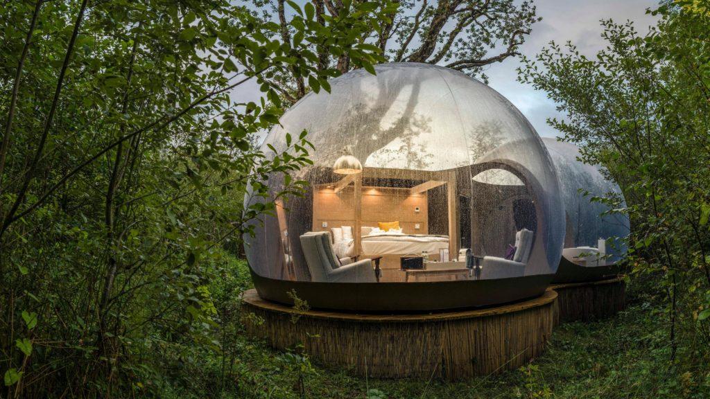 Irish bubble Dome mini-moon in the woods at Finn Lough