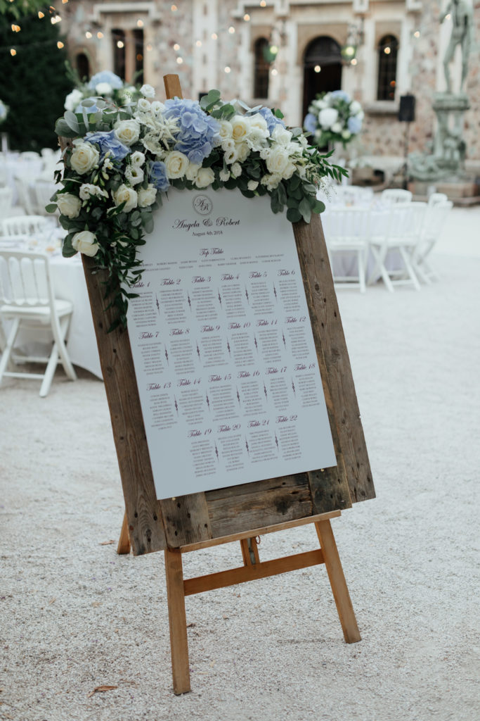 Distressed sheet of wood in a tall easel displays the seating arrangements on one large piece of white paper. At the top of the wood is a large display of the blue and white wedding flowers mixed with greenery