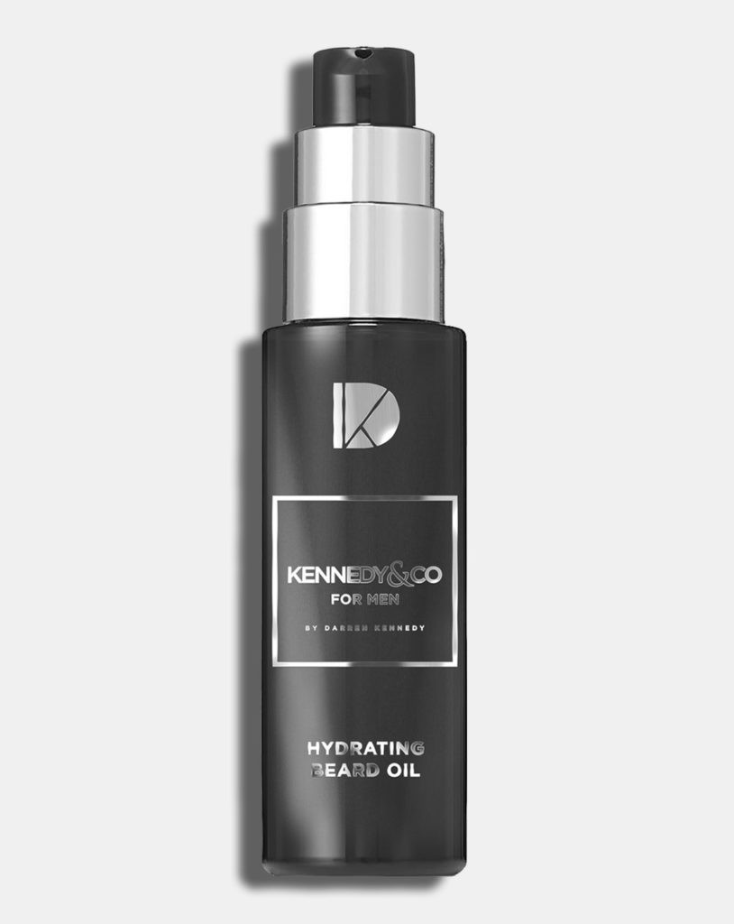 Beard grooming essential. A bottle of Darren Kennedy's Kennedy & Co Beard Oil.